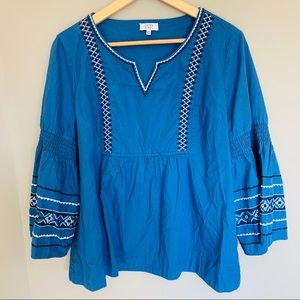 Crown & Ivy Embroidered Boho Bell Sleeve Top XXL